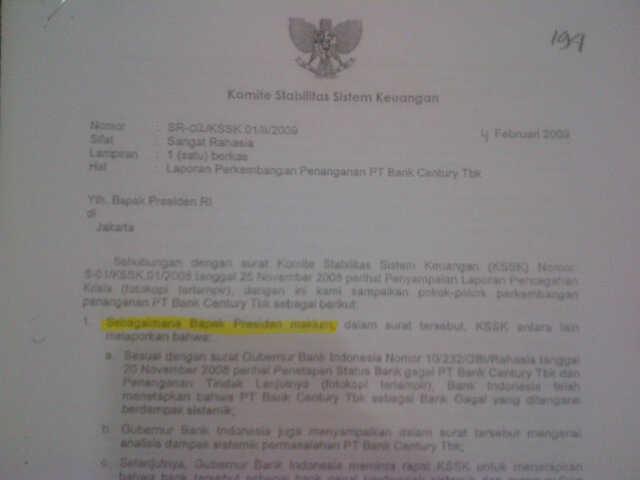 Mendapat penjelasan dari BI, selanjutnya Sri Mulyani mengirim surat