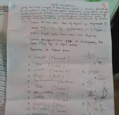 Surat Penjanjian Caleg Gerindra dengan Ketua PPK/Muhajir- Image: Detik.COM