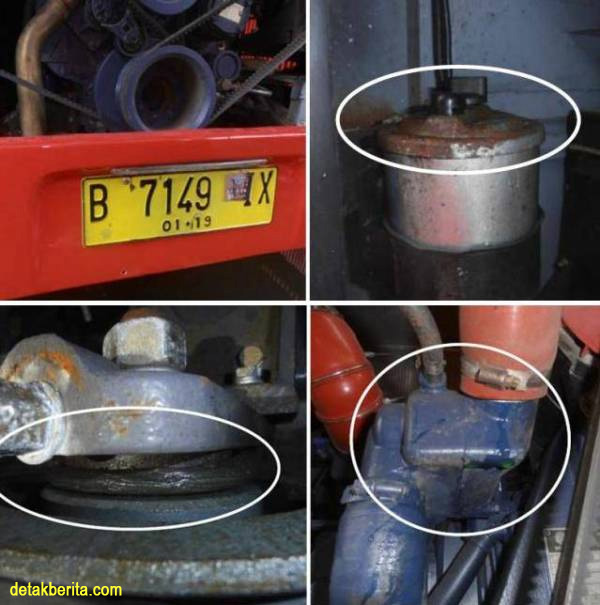 Inilah bukti beberapa komponen bus karatan dari sejumlah bus yang diimpor dari China